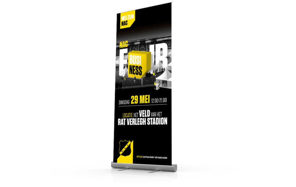 NAC Breda Business Fair rollup banner ontwerp door vdS creatie.