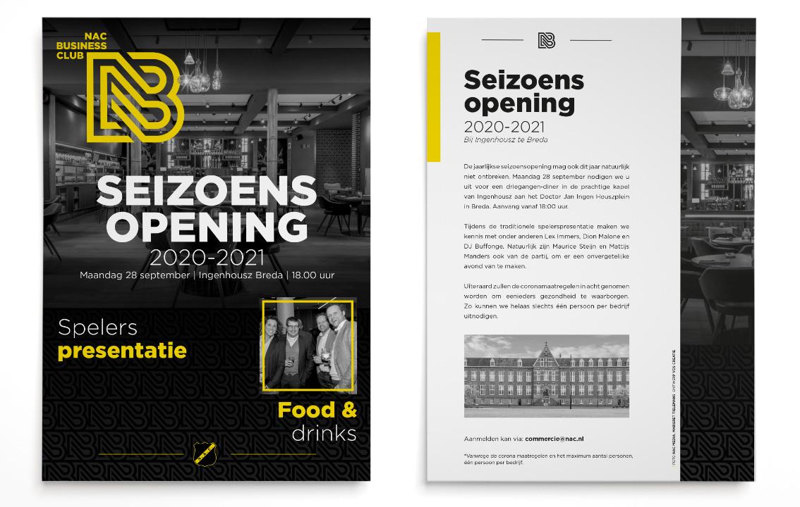 NAC flyer seizoensopening 2020-2021 | Door vdS creatie reclamebureau Breda