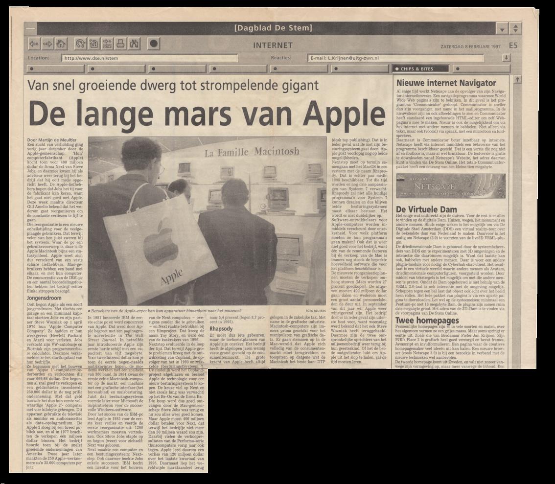vdS creatie Breda - Kranten artikel Dagblad De Stem (BN De Stem) zaterdag 8 februari 1997.