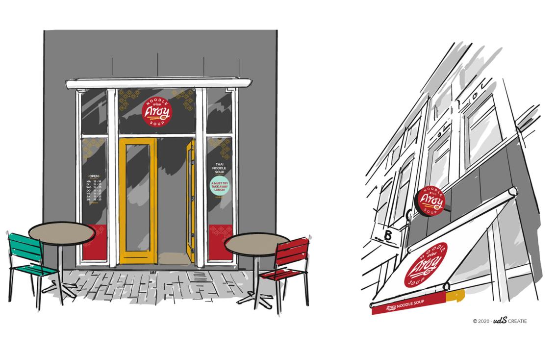 Aroy Noudle Soup - gevelbelettering concept - vdS creatie Breda