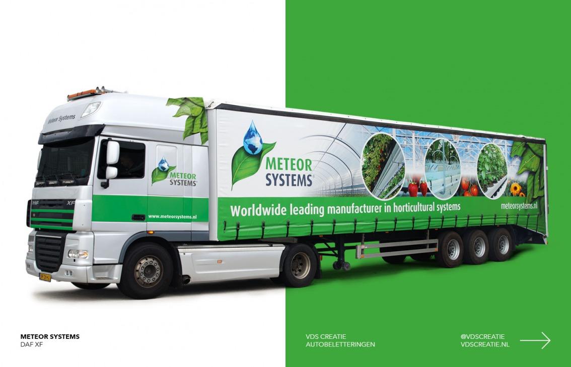 Vrachtwagenbelettering Breda ontwerp Meteor Systems - door vdS creatie Breda