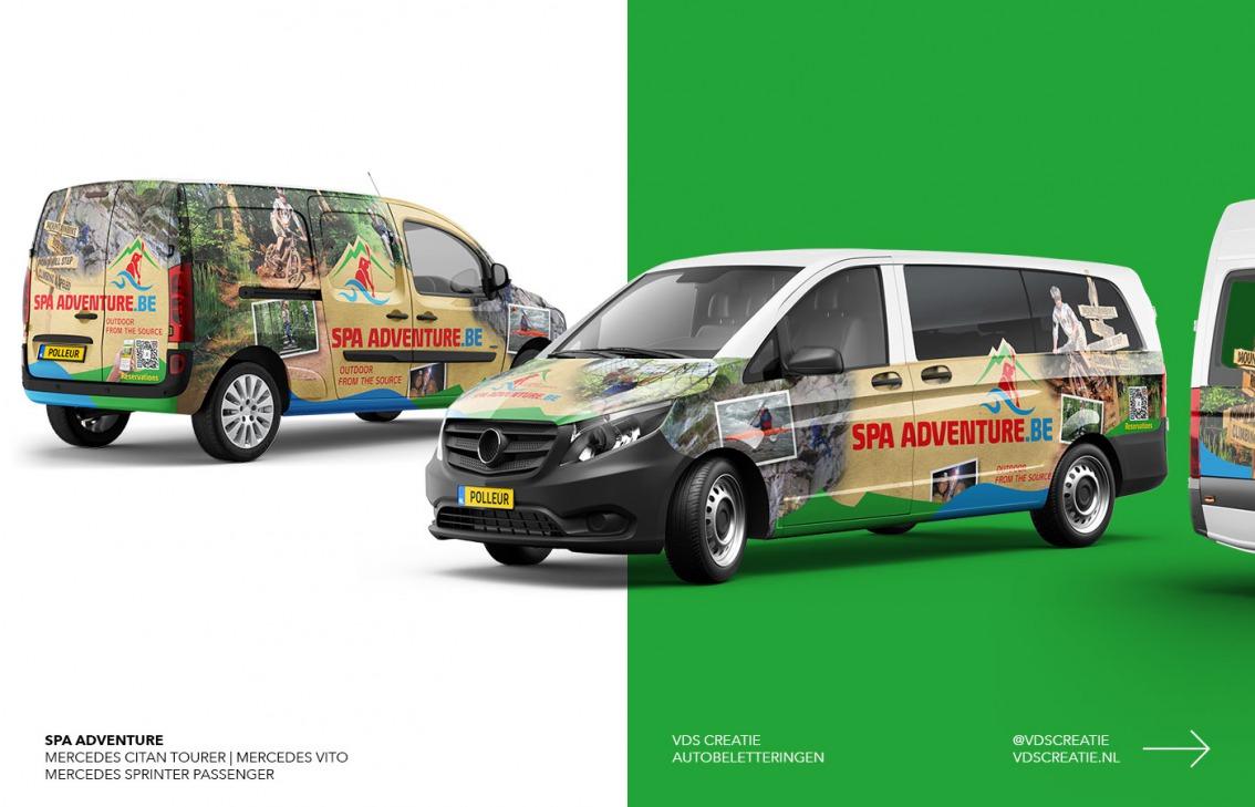 Autobelettering Breda ontwerp Spa Adventure door vdS creatie Breda