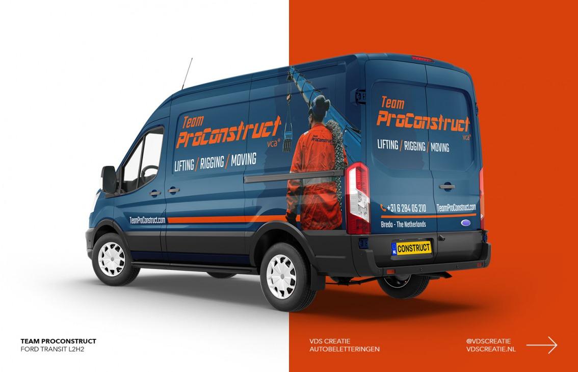 Autobelettering Breda ontwerp Team ProConstruct door vdS creatie Breda