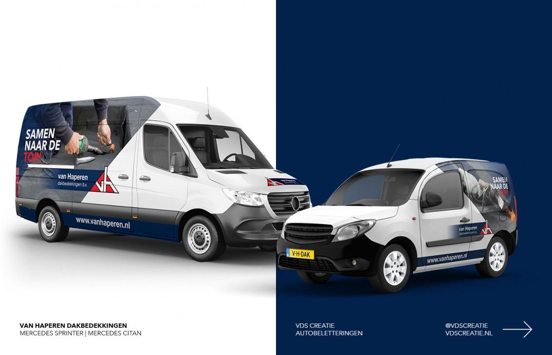 Autobelettering Breda ontwerp Van Haperen Dakbedekkingen door vdS creatie Breda